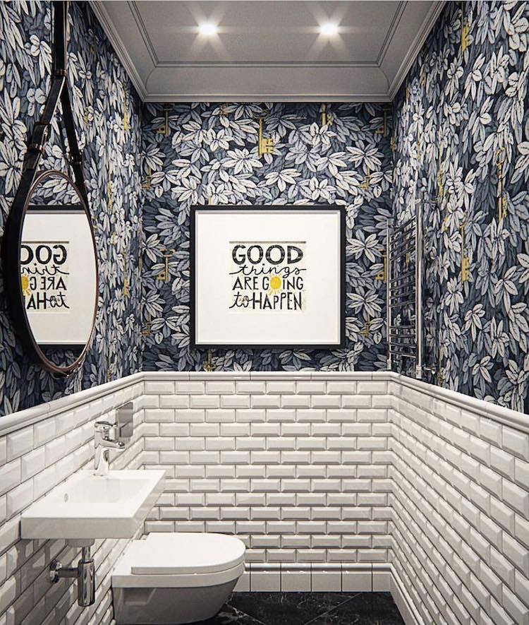 Du Papier Peint Dans Les Toilettes Decouvrez Nos Inspirations Pinterest Blog Au Fil Des Couleurs Papiers Peints Et Decors Muraux