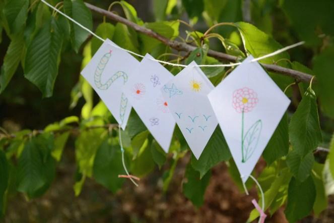 guirlande cerfs volant papier camping