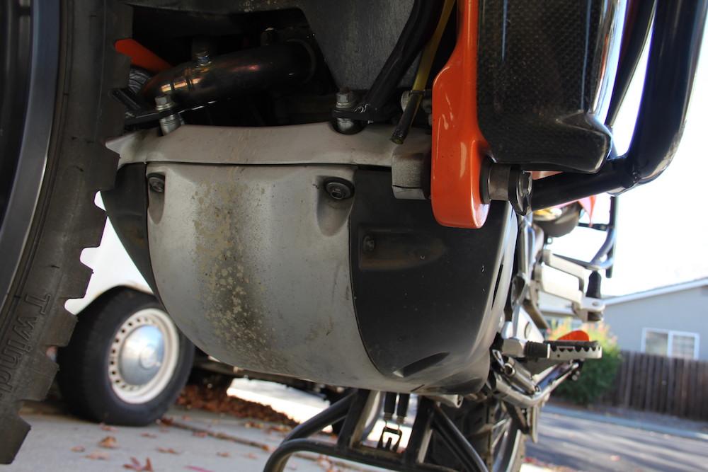 the Stock KTM 950 Adventure skid plate