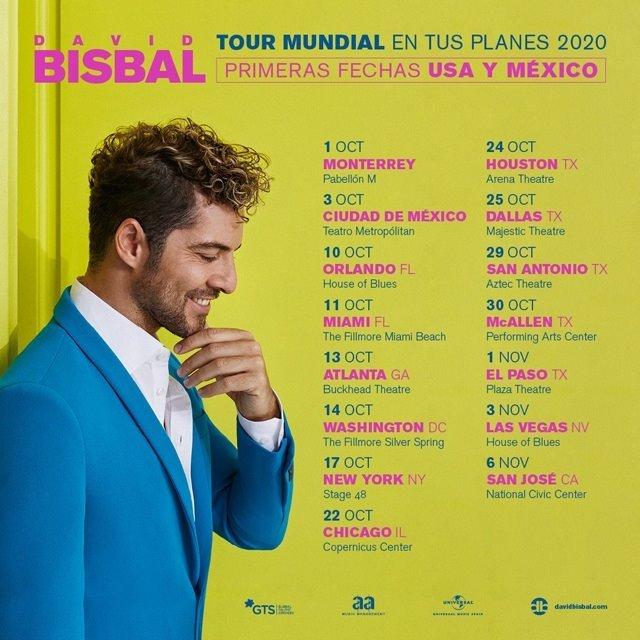 Estas son las fechas y ciudades del tour 2020 de David Bisbal por Estados Unidos y México