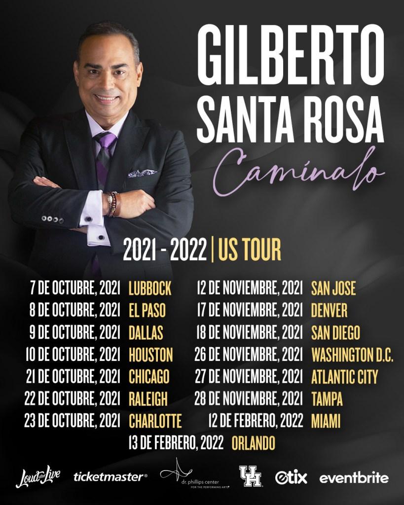 fechas tour caminalo gilberto santa rosa 2021 tickets estados unidos