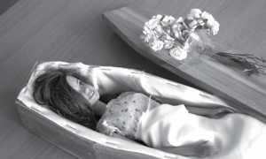 Doll in coffin