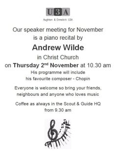 Don't miss a Musical Treat at the November Speaker Meeting