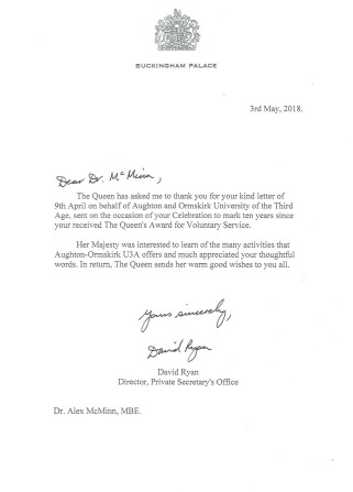 The letter that Alex McMinn received from Buckingham Palace in respect of the Queen's Award for Voluntary Service