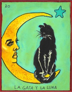 Green lotería card with red border with a black cat perched on a yellow crescent moon with a face. The number 20 is in the corner, and the other corner has a blue star.