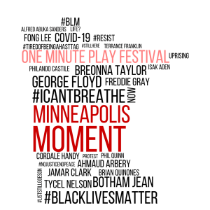 Word cloud in the shape of Minnesota containing the words #BLM, COVID-19, One minute play festival, uprising, Breonna Taylor, George Floyd, Freddie Gray, #Icantbreathe, Minneapolis Moment, #BlackLivesMatter, and more.