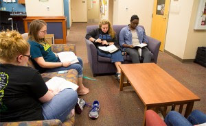 """Maplewood's Worship Nights are Thursdays at 7:17 p.m., a """"strange time,"""" according to pastoral assistant Amanda Helfrich, """"but hopefully people remember."""" From left: Bekah Mongold, Madalynn Payne, Amanda Helfrich and ministry assistant Da'Jahnea Robinson."""