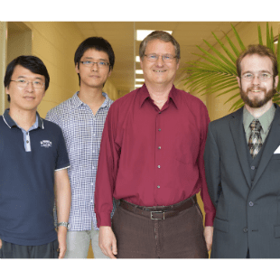 A four-member team of Virginia Tech Department of Physics researchers, including, from left to right, Guilin Liu, Xinfeng Xu, Nahum Arav, and Carter Chamberlain, will soon spearhead three projects associated with the Hubble Space Telescope during the next calendar year.