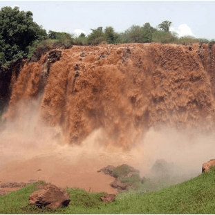 Water gushes over falls in the Blue Nile River Basin in Ethiopia. Virginia Tech researchers recently found that the region may benefit from increased water availability due to climate change.
