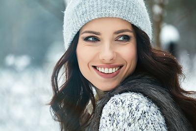 woman outside winter snow
