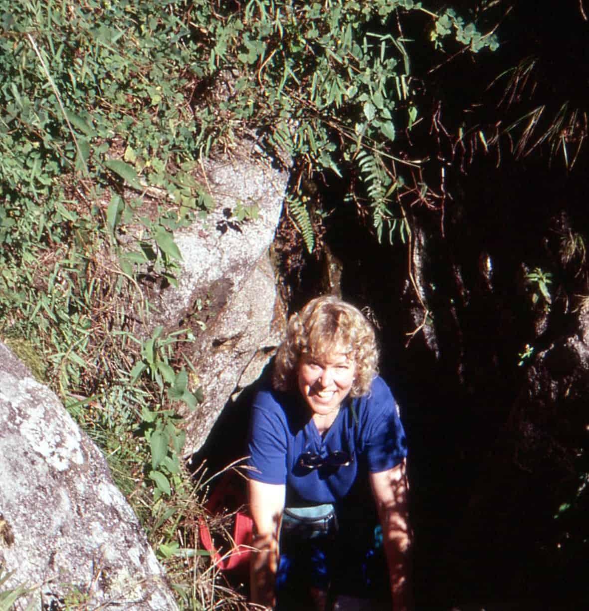 Trish climbing Huayna Picchu