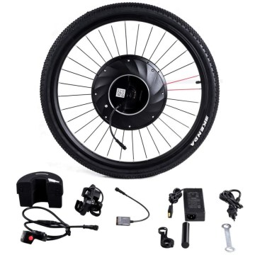 Our electric bicycle kit includes everything needed to convert your standard bike into a top-of-the-line performance electric bike. Drive system has no moving chains or gears, no friction, which will be less chance to break and it can serve you for a long time. It comes with thumb throttle, cellphone bracket which can give you more safety and convenience. Ride your bike effortlessly from now on with our electric bicycle kit.