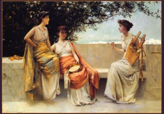 """Sappho with Lyre and girls. Artwork """"Sappho"""" created by Francis Coates Jones"""