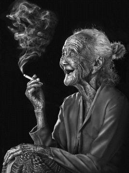 laughing lady smoking