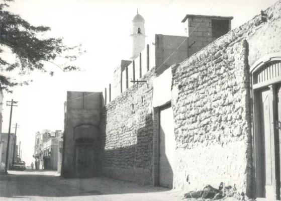 old kuwait neighborhood building street mosque