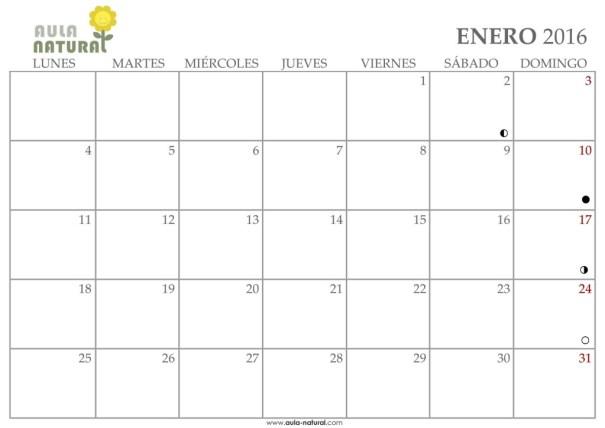 Calendario 2016 para imprimir