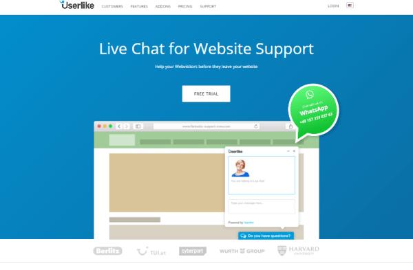 Acceso al Free Trial del servicio para webs de Userlike