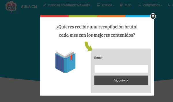 Ejemplo de Pop-up inteligente en la web de aulacm.com