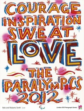 Lemas escritos en caligrafía colorista cos que o autor identifíca os Xogos Paralímpicos.