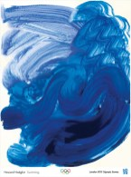 Grosas brochadas en diferentes tonalidades de azul que teñen á natación como fonte de inspiración.
