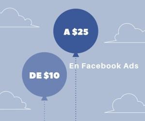 La inversión mínima diaria en Facebook Ads pasó de $10 a $25 pesos
