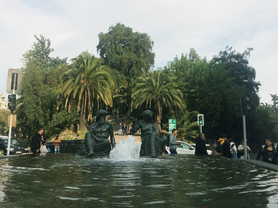 Estatuas de Neptuno y Anfitrite al pie del Santa Lucía