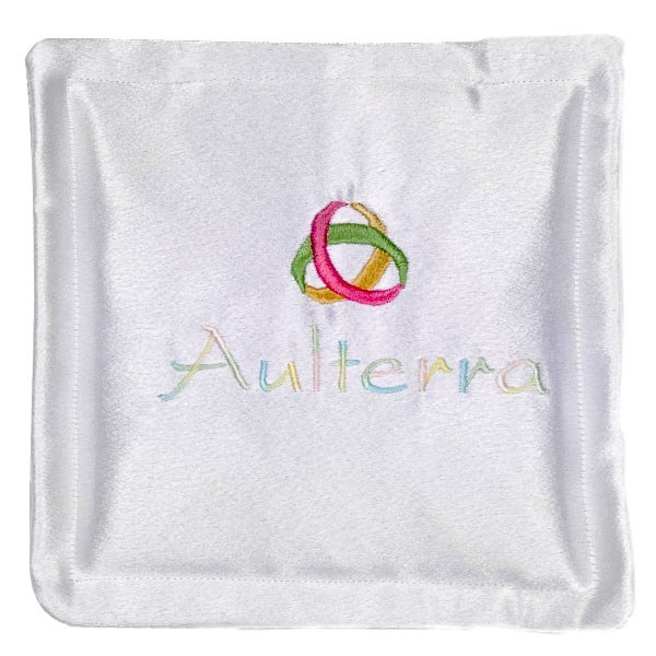 white pillow with mobius strip and word Aulterra