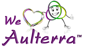 Word Aulterra with cartoon and heart symbol