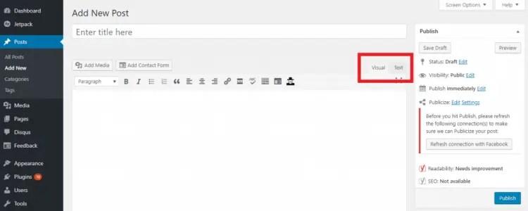 Wordpress edit