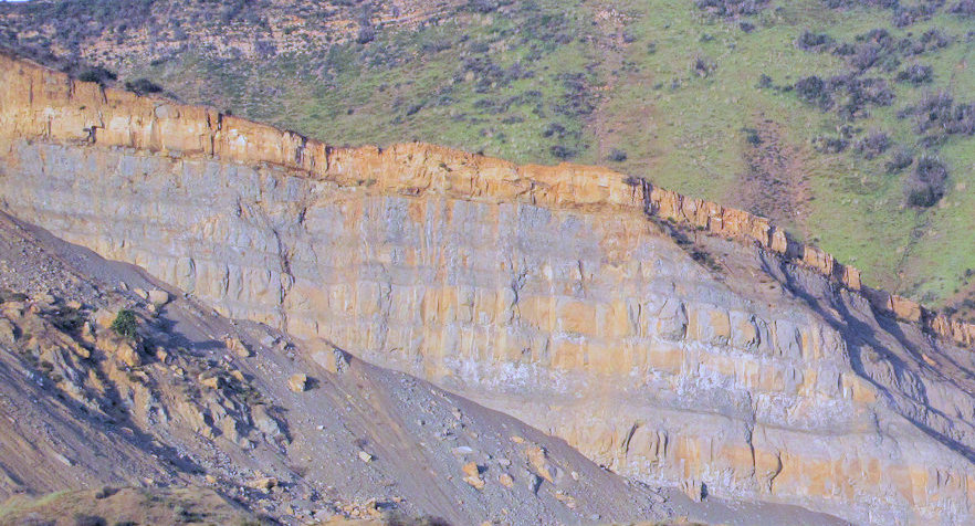 Layers of sandstone uplifted by a fault.
