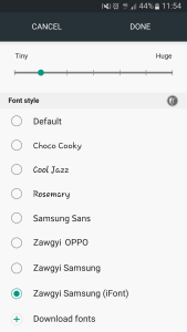 How to change to Myanmar(Burmese)/Zawgyi font on Samsung Android