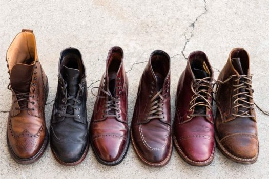 Top down view of Crockett & Jones, Wolverine, Alden, Viberg