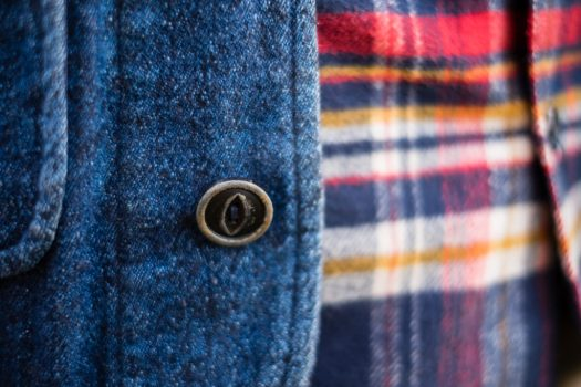 Fabric detail shot and horn button