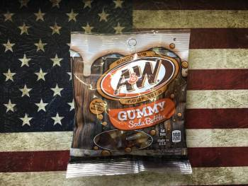 A&W Root Beer Gummy Soda Bottles (128g) From Auntie Ammies Candy Shop