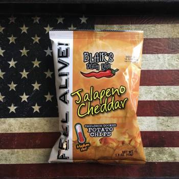 Blair's Death Rain Jalapeno Cheddar Potato chips (43g) From Auntie Ammies Candy Shop