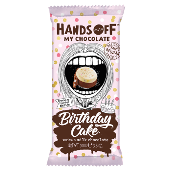 Hands Off My Chocolate - Birthday Cake White & Milk Chocolate - 3.5oz (100g) from auntie ammies American candy shop