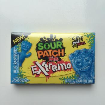 Sour Patch Kids Extreme Blue Raspberry Stride Gum American sweets UK