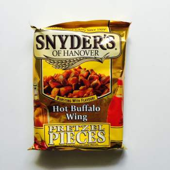 Snyders Hot Buffalo wing Pretzel pieces from Auntie Ammie's American Candy store UK
