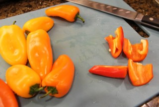 mini bell peppers quartered