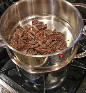 chopped chocolate In double boiler
