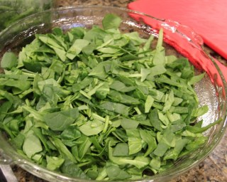 chopped baby spinach