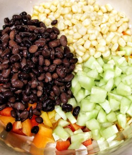 chopped veggies with black beans
