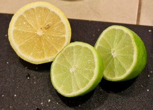 halved limes and lemons