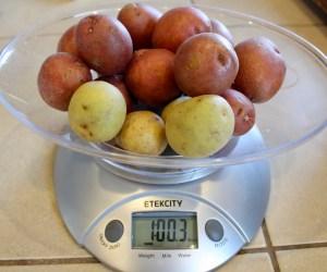 baby potatoes on scale