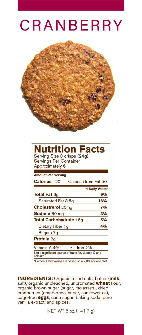 Auntie Elsie's Crisps Cranberry Oatmeal Cookies Nutrition card 5oz