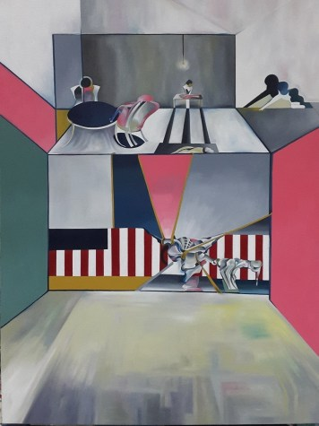 The American Series-The Butchers Table -complete 49.5'' x 375'' x 1.5'' Oil on Canvas