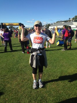 Hurray! 10 km completed. I get a banana and water!