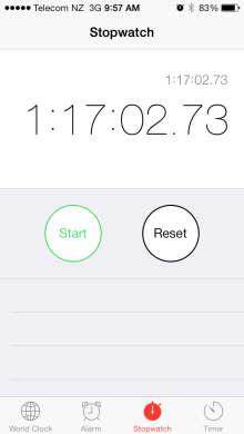 Time on my stopwatch!
