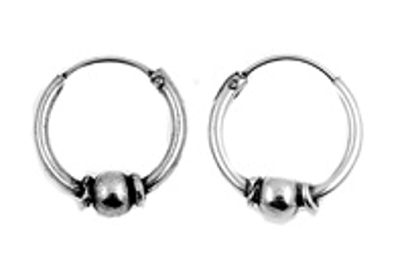 12mm Diameter Round Ball Center Bali Hoop Men S Earrings