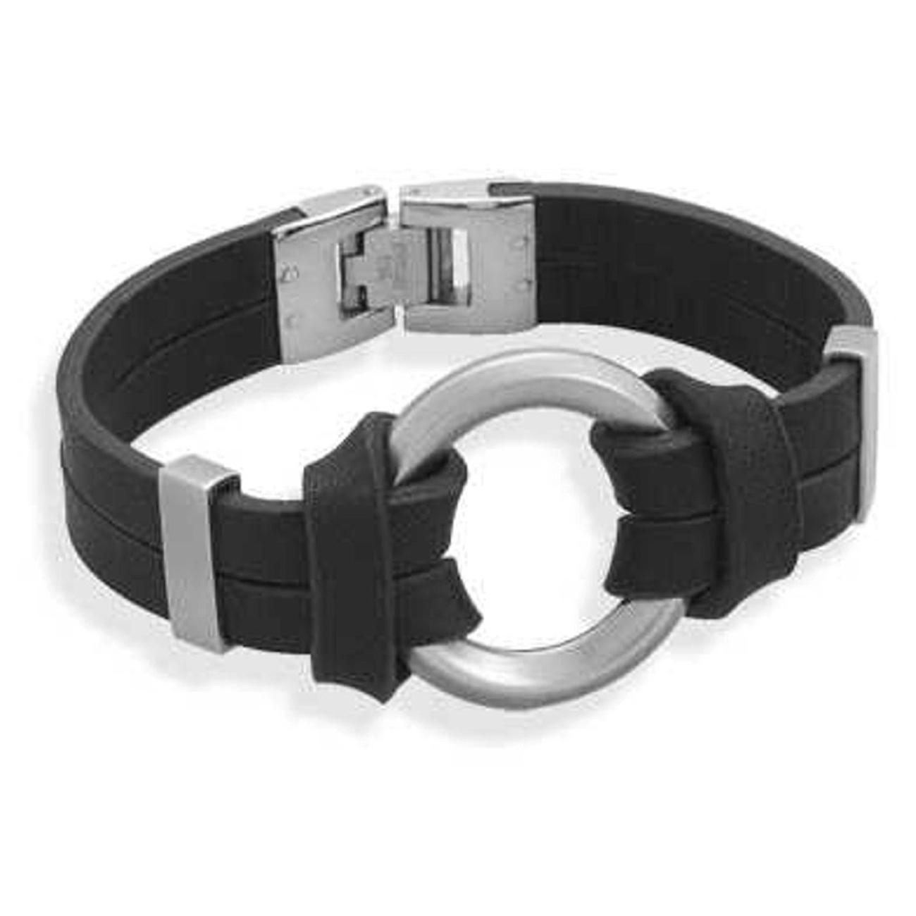Stainless Steel Circle Ring Black Leather Bracelet Bella